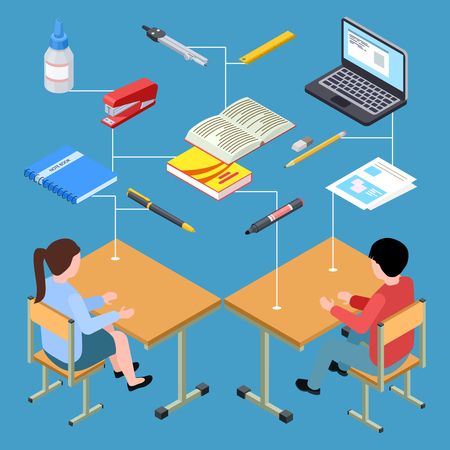 Workplace of modern students isometric vector design. Illustration of workplace student 3d, isometric education and studying Illustration