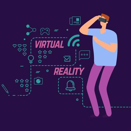 Concept vectoriel de réalité virtuelle avec des icônes sociales de ligne et un garçon de personnage de dessin animé. Jeux de divertissement, illustration de l'expérience d'innovation Vecteurs