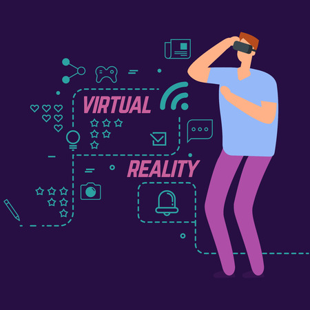 Virtual reality vector concept with line social icons and cartoon character boy. Entertainment gaming, innovation experience illustration Vector Illustration