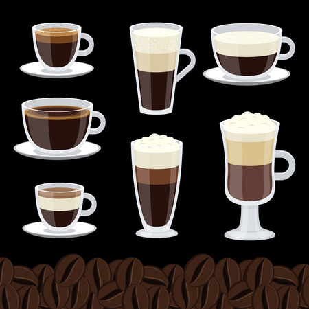 Cartoon cups set of coffee vector collection. Cup of coffee collection, cappuccino and mocha illustration Illustration