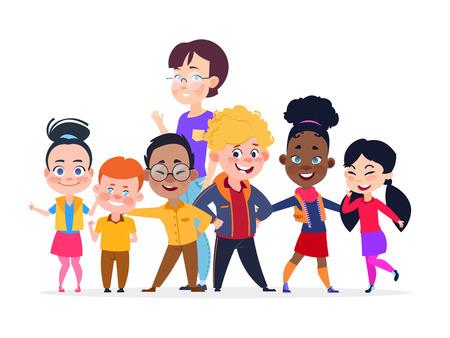 Felice gruppo di studenti internazionali. Concetto di vettore di amicizia. Gruppo studentesco adolescente internazionale e illustrazione donna insegnante