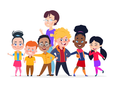 Happy international students group. Friendship vector concept. Student group teenager international and teacher woman illustration