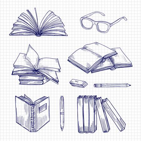 Carnets de croquis et papeterie. Collection de vecteur de griffonnage de bibliothèque vintage. Illustration d'un livre de papeterie et d'un cahier, d'un stylo et de lunettes Vecteurs