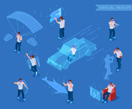 People in virtual reality. Man in headset, vr simulation equipment. 3d isometric vector characters virtual training. Illustration of vr device reality, experience and emotions