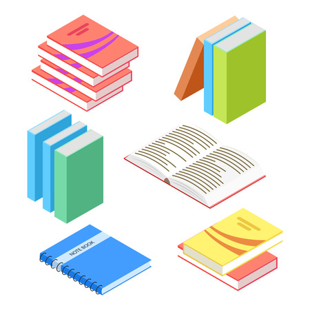 Isometric books and notepad isolated on white background. Education isometric book, 3d stack. Vector illustration