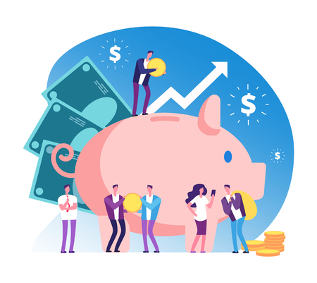 Piggy bank and people. Deposit money bank, wealth and cash accumulator financial vector concept. Illustration of deposit bank, money investment in banking