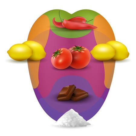 Carte de dégustation visuelle dans la bouche humaine avec de la nourriture. Mouht réaliste avec des citrons, des piments, du sel, des tomates. Goût de langue aigre, illustration de base du sens