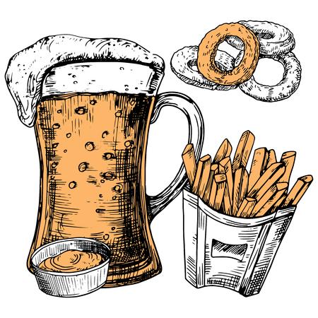 Hand drawn glass of beer and snacks vector illustration. Beer glass mug and food snack sketch Фото со стока