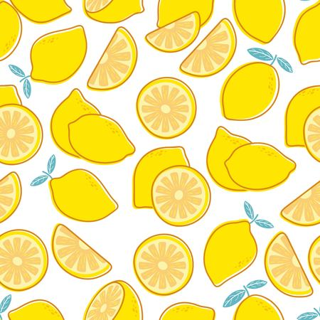 Lemon seamless pattern. Tropical citrus exotic fruit print. Yellow lemons summer floral repeating vector decorative texture. Illustration of fruit pattern, summer citrus