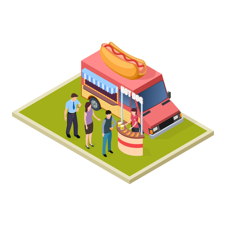 Promo hot dog and beer tasting and fast food truck isometric vector illustration. Hot dog and beer degustation and promotion