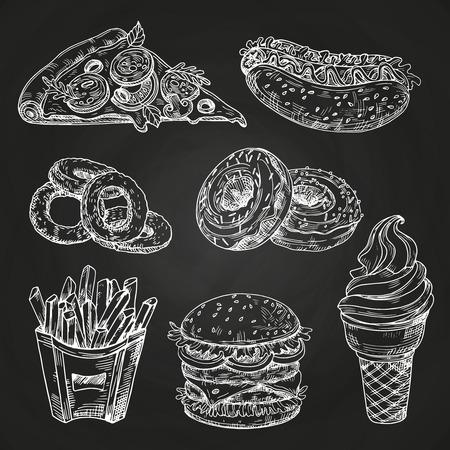 Fast-Food populaire dessinés à la main sur l'illustration vectorielle de tableau noir. Tableau noir, sandwich et casse-croûte de menu de restauration rapide