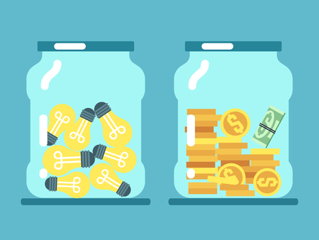 Saving money and ideas. Coins and lamps in glass jars vector illustration. Financial cash and idea in glass banks