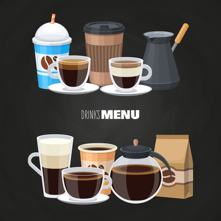 Drinks menu elements on blackboard - vector coffee shop flat design. Illustration of cup of coffee beverage, latte and americano