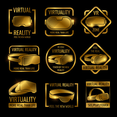 Golden virtual reality glasses and helmets label design. Vector vr logo zone, device for virtual cyberspace illustration