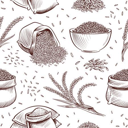Patrón sin fisuras de arroz. Cuenco dibujado a mano con granos de arroz y espigas de arroz vector textura japonesa. Ilustración de saco con grano de arroz Ilustración de vector