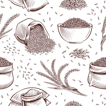 Rice seamless pattern. Hand drawn bowl with rice grains and paddy ears vector japanese texture. Illustration of sack with rice grain 일러스트
