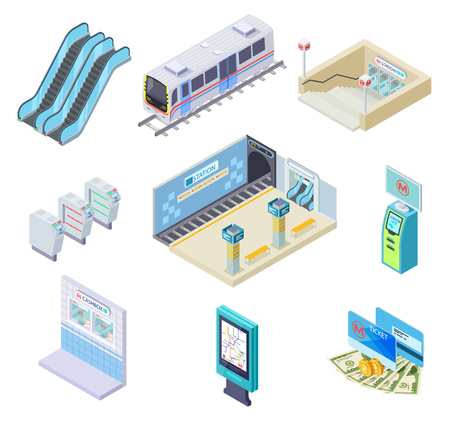 Isometric metro elements. Subway train, station platform and escalator, turnstile and underground tunnel. 3d subway vector collection. Illustration of train isometric, metro platform station