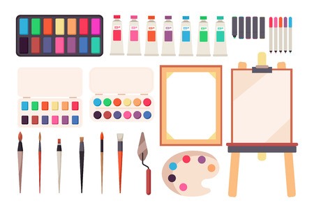 Painting tools. Cartoon paintbrush and canvas, easel and paints. Watercolor palette. Artistic vector set of easel and paint for drawing illustration