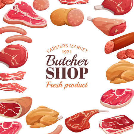 Butchery poster. Fresh meat raw, beef steak and pork ham. Meat product vector background. Illustration of butcher shop and market  イラスト・ベクター素材