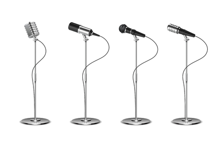 Microphone set. Standing microphones audio equipment. Concept and karaoke music mics vector isolated collection. Illustration of sound equipment mic, microphone for record