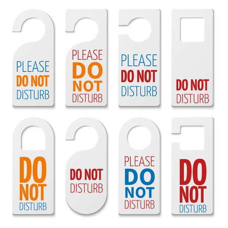 Do not disturb realistic plastic blanks vector collection. Illustration of not disturb tags of set for room hotel Illustration