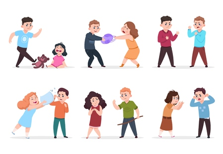 Angry kids. Bad boys and girls confronting and bullying smaller children. Bad behavior kid vector character. Illustration of boy and girl bullying, childhood violence Ilustração