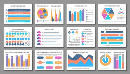 Układ plansza. Wykres prezentacji biznesowej, raport marketingowy firmy. Elementy wektorów infografiki uniwersalne finansów. Schemat finansów i wykres graficzny dla ilustracji biznesowych