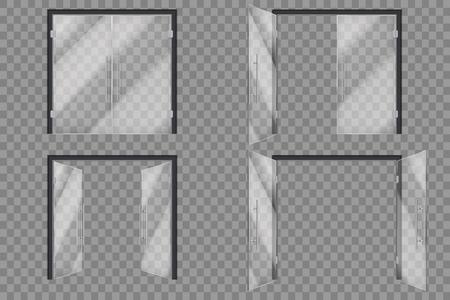 Glazen deuren. Open gesloten supermarkt buiten transparante deur geïsoleerde vector 3D-set. Illustratie van glazen deur, ingang van boutique