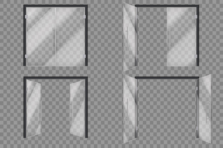 Puertas de cristal. Supermercado cerrado abierto fuera de la puerta transparente aislado vector 3d set. Ilustración de la puerta de cristal, entrada a la boutique.