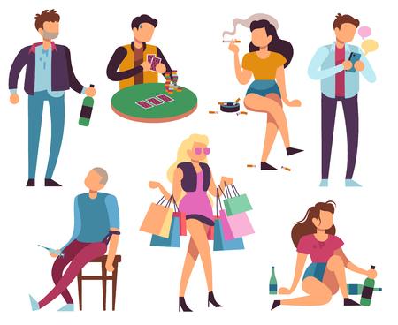 Les personnes dépendantes. Mauvaises habitudes alcoolisme toxicomanie fumer jeu smartphone shopping addictions. Ensemble de vecteurs de mode de vie malsain. Dépendance alcoolique, boisson d'habitude et illustration d'accro du shopping Vecteurs