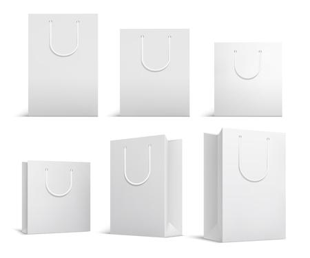 Boodschappentasmodel. Witte blanco papieren zakken. Winkelen productpakket voor corporate merk vector sjabloon. Illustratie van papieren zak en pakketkoopwaar