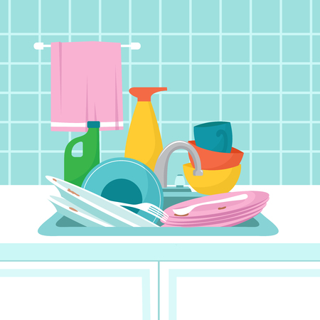 Kitchen sink with dirty plates. Pile of dirty dishes, glasses and wash sponge. Vector illustration. Dirty plate and dish, household work