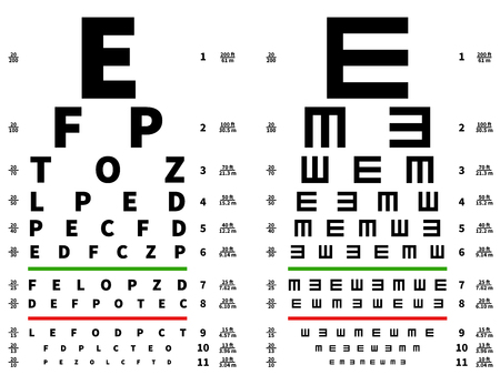 Eyes test chart. Vision testing table, ophthalmic spectacles measuring equipment. Vector illustration. Medical test health optical, sight check examination Illustration