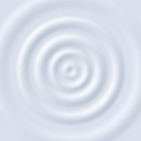 Milk ripple. Circle waves yogurt cream. Close up top view white milk circular ripples vector texture. Illustration of yogurt milk cream, liquid fluid creamy Vetores