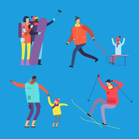Happy international family and friends are engaged in winter sports vector illustration. Sport family and happy woman and man with child