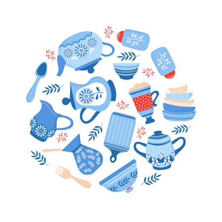Crockery ceramic cookware. Blue porcelain bowls, dishes and plates isolated on white background. Vector cookware and crockery, dish ceramic, utensil and kitchenware illustration  イラスト・ベクター素材