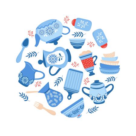 Naczynia ceramiczne naczynia. Niebieskie miski porcelanowe, naczynia i talerze na białym tle. Ilustracja wektorowa naczyń kuchennych i naczyń, naczyń ceramicznych, przyborów kuchennych i naczyń kuchennych