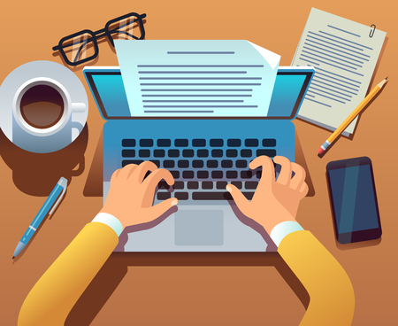 Writer writes document. Journalist create storytelling with laptop. Hands typing on computer keyboard. Story writing vector concept. Illustration of journalist write blogging