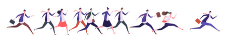 Running business people. Businessman businesswoman, jogging persons run to goal. Competition, leadership and success vector concept. Businesswoman and businessman competition illustration
