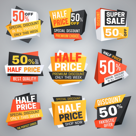 Half price sale tags. Special weekend offer discount, 50 off sale banners and coupons vector collection. Illustration of discount label and offer, market tag