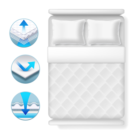 Info icons about bed mattress. Realistic white bed with pillows and blanket isolated on white background. Bed furniture mattress for sleep comfortable illustration