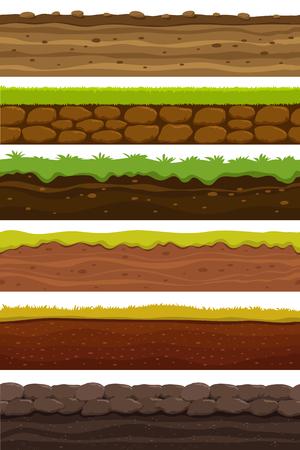 Cartoon nahtlose Gründe. Weites Landschaftsgrundstück. Land und Boden für die UI-Spielvektorsammlung. Abbildung des Bodenbodens, nahtlose horizontale Schnittstelle