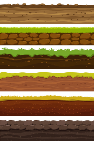 Cartoon seamless grounds. Wide landscape ground. Land and soil for ui game vector collection. Illustration of ground soil, seamless horizontal interface