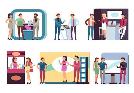 People at trade expo. Men and women at product demonstration stands and event booths on exhibition. Vector set of demonstration exhibition advertising, desk promo marketing illustration 일러스트