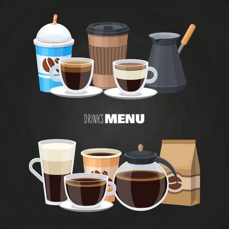 Éléments de menu de boissons sur tableau noir - design plat de café vectoriel. Illustration de tasse de boisson au café, latte et americano