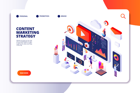 Content marketing landing page. Contents creation specialist and article writers. Writing service isometric concept. Illustration of article write copywriting for website