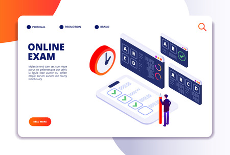 Online exam isometric concept. Internet questionnaire, quiz application for student testing. Survey examination landing vector page. Illustration of online quiz and examination application testing Ilustração