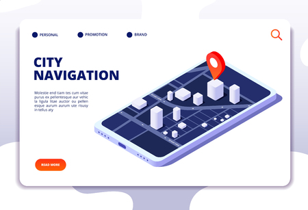 Navigation map isometric concept. Gps location system. Phone tracker with global positioning. Vector landing page navigation gps system, city street on mobile screen illustration