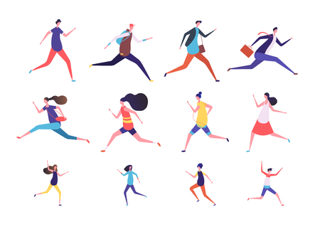 Running people. Flat man and woman, business persons and kids run. Flat vector runner jogging characters set. Illustration of run man and woman, runner girl boy