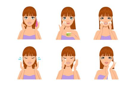 Cura della pelle della donna. Cartone animato bella ragazza che pulisce e lava il viso con acqua e sapone dopo il trucco. Insieme di vettore di trattamento del corpo di bellezza. Illustrazione della bellezza del trucco per donna, lozione per sapone Vettoriali